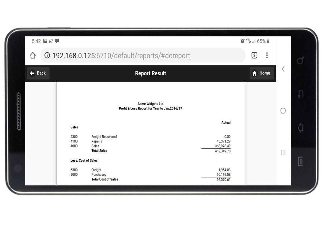 Moneyworks Profit/Loss Report on mobile