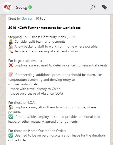2019-NCOV: FURTHER MEASURES FOR WORKPLACES