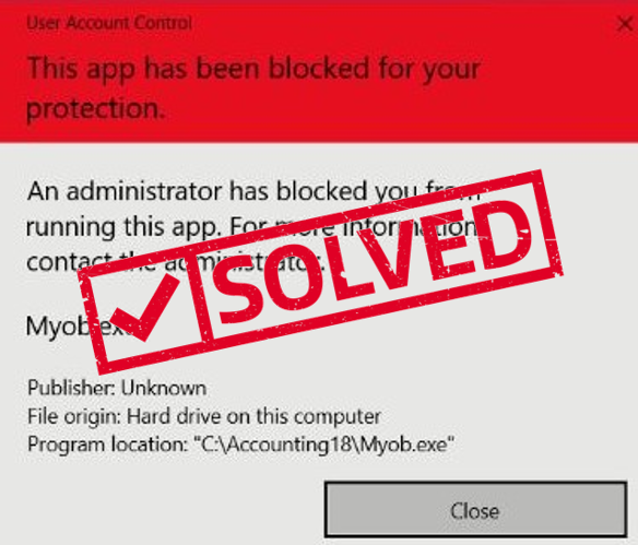 myob - this app has been blocked for your protection